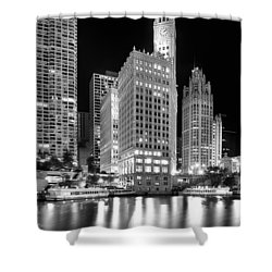 Wrigley Building Reflection In Black And White Shower Curtain by Sebastian Musial