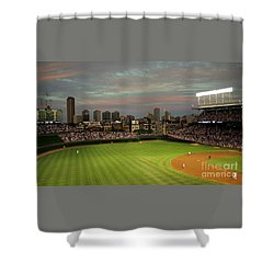 Wrigley Field At Dusk Shower Curtain