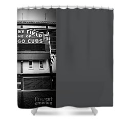 Wrigley Field Chicago Cubs Sign In Black And White Shower Curtain by Paul Velgos