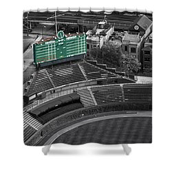 Wrigley Field Chicago Sports 04 Selective Coloring Shower Curtain by Thomas Woolworth