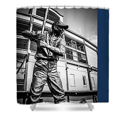 Wrigley Field Ernie Banks Statue In Black And White Shower Curtain by Paul Velgos