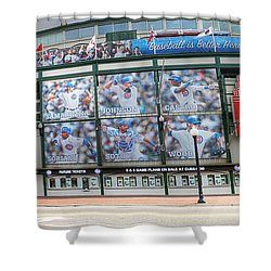 Wrigley Field On Clark Shower Curtain by David Bearden