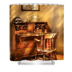 Writer - A Chair And A Desk Shower Curtain by Mike Savad