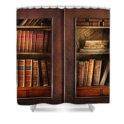 Writer - Books - The Book Cabinet  Shower Curtain by Mike Savad