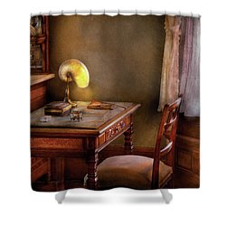 Writer - Desk Of An Inventor Shower Curtain by Mike Savad