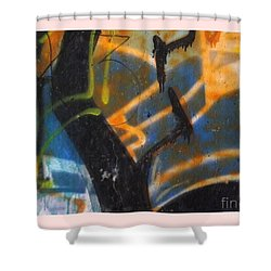 Writing On The Wall 2 Shower Curtain by Sara  Raber