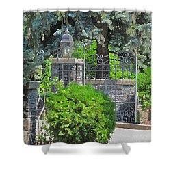 Wrought Iron Gate Shower Curtain by Donald S Hall