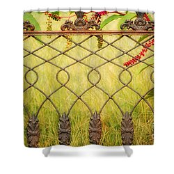 Wrought Iron With Red And Green Shower Curtain by Kathleen K Parker