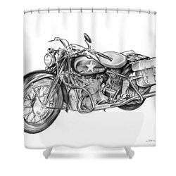 Ww2 Military Motorcycle Shower Curtain