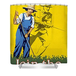 Wwi Join The Land Army 1918 Shower Curtain by Photo Researchers