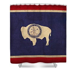 Wyoming State Flag Art On Worn Canvas Shower Curtain by Design Turnpike