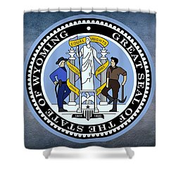 Wyoming State Seal Shower Curtain by Movie Poster Prints