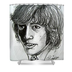 Shower Curtain featuring the drawing Robin Gibb by Patrice Torrillo