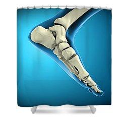 X-ray View Of Bones In Human Foot Shower Curtain by Stocktrek Images
