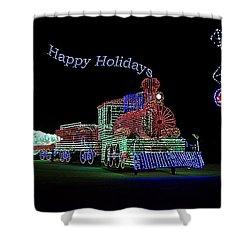 Xmas Tree Train Happy Holidays Shower Curtain by Thomas Woolworth