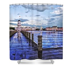 Yacht And Beach Club Lighthouse Shower Curtain