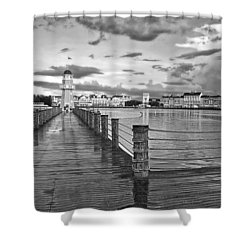 Yacht And Beach Lighthouse In Black And White Walt Disney World Shower Curtain