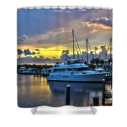 Yacht At Cape Coral Florida Marina And Resort 2 Shower Curtain by Timothy Lowry