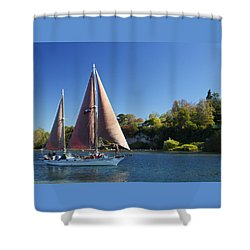 Yacht Fearless On Lake Taupo  Shower Curtain by Venetia Featherstone-Witty