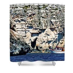 Yacht In Sea Near Popeye Village Shower Curtain