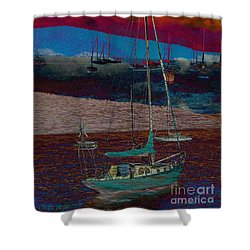 Shower Curtain featuring the photograph Yachts On The River by Leanne Seymour