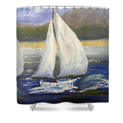 Yachts Sailing Off The Coast Shower Curtain