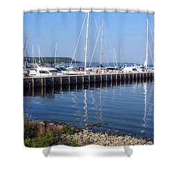Yachtworks Marina Sister Bay Shower Curtain