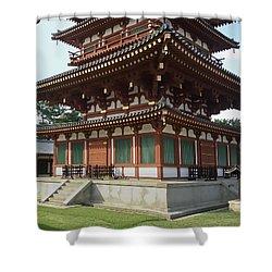 Yakushi-ji Temple West Pagoda - Nara Japan Shower Curtain by Daniel Hagerman