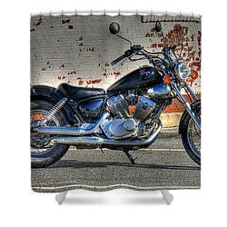 Shower Curtain featuring the photograph Yamaha Virago 01 by Andy Lawless