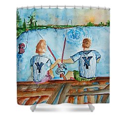 Yankee Fans Day Off Shower Curtain by Elaine Duras