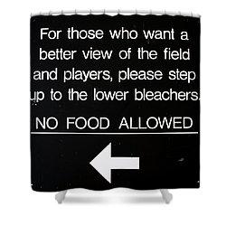 Yankee Stadium Lower Bleachers Sign Shower Curtain by Bill Cannon