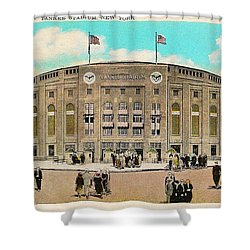 Yankee Stadium Postcard Shower Curtain by Bill Cannon