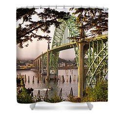 Yaquina Bay Bridge Morning Light Shower Curtain by Darren  White
