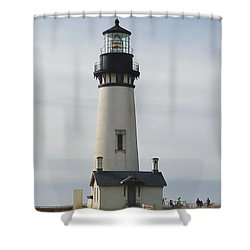 Shower Curtain featuring the photograph Yaquina Bay Lighthouse by Susan Garren