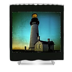 Yaquina Head Lighthouse At Sunset Shower Curtain