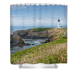 Shower Curtain featuring the photograph Yaquina Head Lighthouse by Jeff Goulden