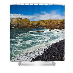 Yaquina Lighthouse On Top Of Rocky Beach Shower Curtain by Jamie Pham