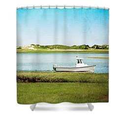 Yarmouth Port Fishing Boat In Green And Blue Shower Curtain by Brooke T Ryan