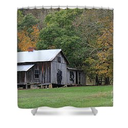 Ye Old Cabin In The Fall Shower Curtain