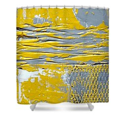 Yellow And Gray Abstract Painting Urban Chic Shower Curtain