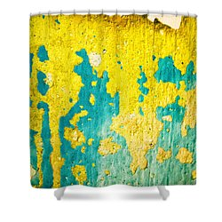 Shower Curtain featuring the photograph Yellow And Green Abstract Wall by Silvia Ganora