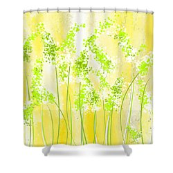 Yellow And Green Art Shower Curtain by Lourry Legarde