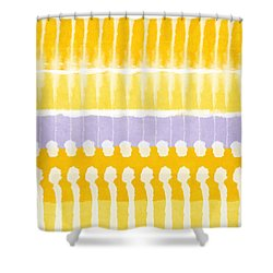 Yellow And Grey Tie Dye Shower Curtain by Linda Woods