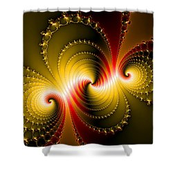 Yellow And Red Metal Fractal Art Shower Curtain by Matthias Hauser