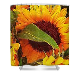 Yellow Sunflower Shower Curtain by Andre Brands