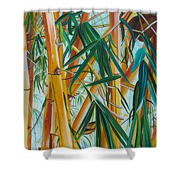 Yellow Bamboo Shower Curtain by Marionette Taboniar