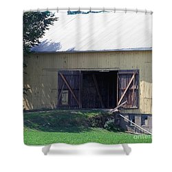 Shower Curtain featuring the photograph Yellow Barn by Gena Weiser