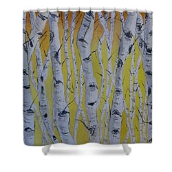 Yellow Birch Shower Curtain