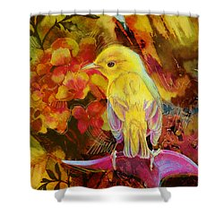 Yellow Bird Shower Curtain by Catf