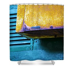 Yellow-blue Abstract Shower Curtain